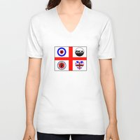 60s V-neck T-shirts featuring Brit music 60s 70s by MasterChef-FR