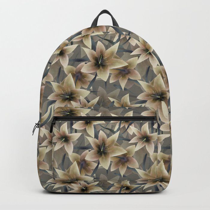 Lily. Grey beige floral pattern . Backpack