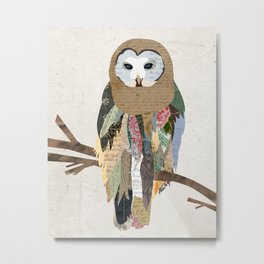 Owl Collage Metal Print