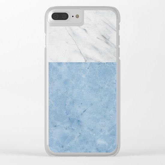 Porcelain blue and white marble Clear iPhone Case