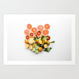 Lemon orange leaf Art Print