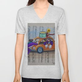 African American 'Apollo Theater Sheet Music Portrait No. 8' Gig Breakdown by Miguel Covarrubias Unisex V-Neck