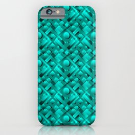 Volumetric design with interlaced circles and light blue rectangles of stripes. iPhone Case