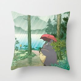 Anime and vintage japanese woodblock mashup Throw Pillow