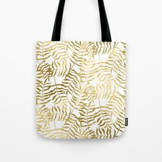 Gold Leaves on White Tote Bag