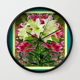 PURPLE & WHITE LILIES  TURQUOISE FLORAL MODERN ART Wall Clock