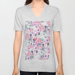 Hand painted pink lavender purple watercolor bird floral Unisex V-Neck