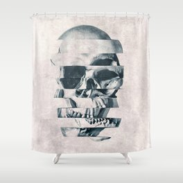 Glitch Skull Mono Shower Curtain