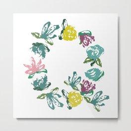 Floral Q Monogram Metal Print