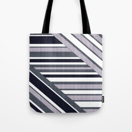 Geometric pattern, patchwork, grey, simple, retro, sixties, grayish, grunge, abstract, striped Tote Bag