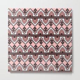 Blush Pink Black and White Ornate Lace Pattern Metal Print
