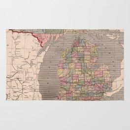 Vintage Map of Michigan (1844) Rug