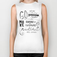 neil gaiman Biker Tanks featuring make mistakes - neil gaiman by Brittany Alyse