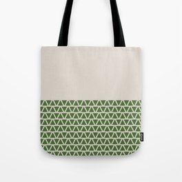 Triangles half Pattern (Treetop Green, Cream) Tote Bag
