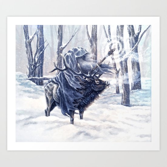 Magical Wizard Riding an Elk in the Snow Art Print