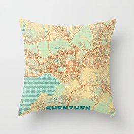 Shenzhen Map Retro Throw Pillow
