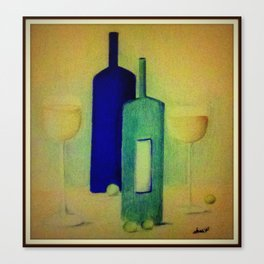Wine and Green Grapes Canvas Print