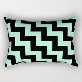 Black and Magic Mint Green Steps LTR Rectangular Pillow