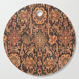 Floral Medallion I // 18th Century Colorful Blue Lime Green Pink Sapphire Plum Burlap Brown Pattern Cutting Board