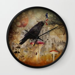Raven in a City Wall Clock