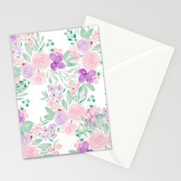 Modern pink purple floral watercolor pattern Stationery Cards