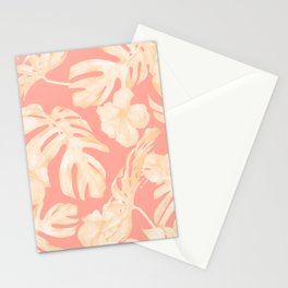 Pretty Pink and Coral Topical Monstera Pattern Stationery Cards