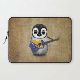 Baby Penguin Playing Bosnian Flag Acoustic Guitar Laptop Sleeve