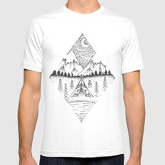 Mountain Camping White X-LARGE Mens Fitted Tee