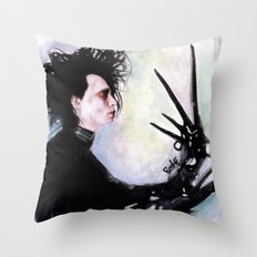 Edward Scissorhands: The story of an uncommonly gentle man. Throw Pillow
