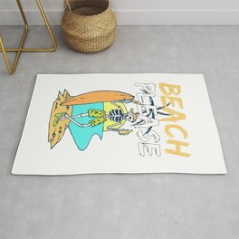 Funny Beach Please Skeleton Graphic For Surfer and Beach Lover Rug