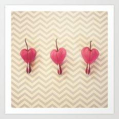 Chevron Hearts Art Print
