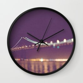 Let's go for a walk. San Francisco Bay bridge night photograph. Wall Clock