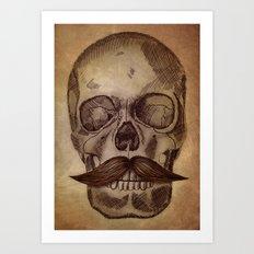 Skull Mustache Art Print