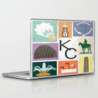 kansas city Laptop & iPad Skins featuring Kansas City Landmark Print by Jenna Davis Designs