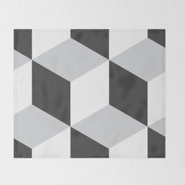 Cubism Black and White Throw Blanket