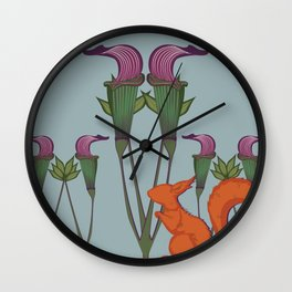 Red Squirrel + Jack-in-the-Pulpit Wall Clock