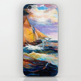Fishing boats in the sea at sunset iPhone Skin
