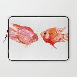 Two Love Fish, Fish art, Love, aquarium design, Parrot Cichlids Laptop Sleeve