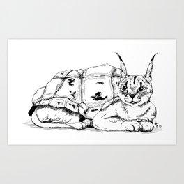 Chimera: Galapagos tortoise and Caracal Art Print
