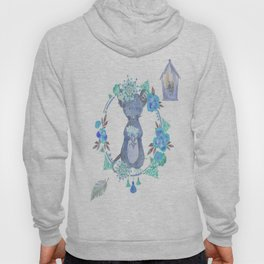 Lufkin Mouse Repeat Pattern Blue Illustration - Bagaceous Hoody