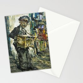 street musician playing on accordion Stationery Cards