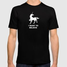 I WANT TO BELIEVE - Unicorn Black MEDIUM Mens Fitted Tee