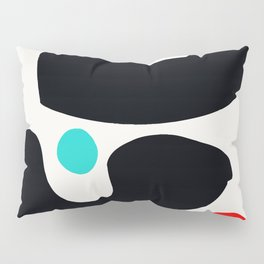 Abstract Art Minimalism Blue Black and Red Pillow Sham