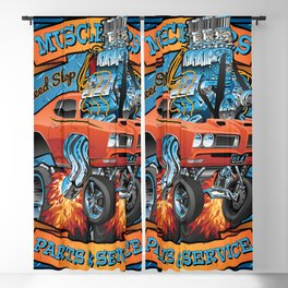 Classic Sixties Muscle Car Parts & Service Cartoon Blackout Curtain