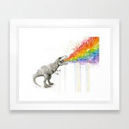 T-Rex Rainbow Puke - Facing Right Framed Art Print