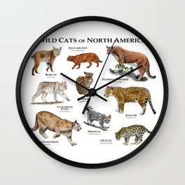 Wildcats of North America Wall Clock