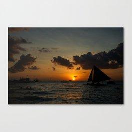 Boracay beach sunset Canvas Print