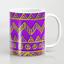 Ethnic  Golden Pattern  Swirl on Purple Leather Coffee Mug
