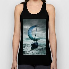 Boat and Moon Unisex Tank Top