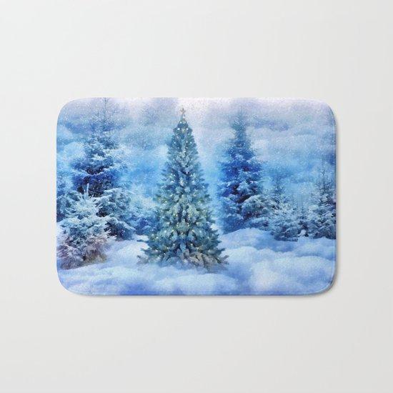 Christmas tree scene Bath Mat